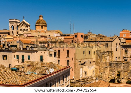 Cagliari - capital of Sardinia. Sardegna wide angle view. Roofs and houses of Cagliari - biggest city in Sardinia. Cagliari view from above. Cagliari skyline old town. - stock photo