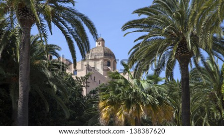 Cagliari Cathedral and a part of historical district Castello, Sardinia, Italy - stock photo