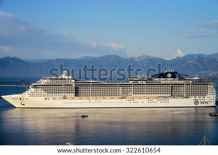 Cagliari 27/09/2015 - Cruise ship MSC Preziosa is arrived and moored on Cagliari harbor