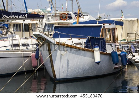 Cagliari: detail of the bow of a fishing boat docked in the marina of Marina Piccola - Sardinia - stock photo