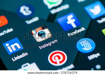 Cagliari, ITALY 18/02/2016 - Close up of social media app's photographed from a smartphone, pleasing defocus due to the inclination and the proximity of the subject. - stock photo