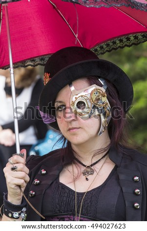 CAGLIARI, ITALY - June 1, 2014: Sunday at La Grande Jatte, public gardens - Sardinia - portrait of a woman in steampunk costumes