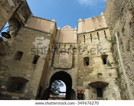 Cagliari, medieval gate - stock photo