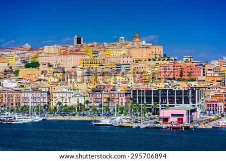 Cagliari, Sardinia, Italy coastal skyline on the Mediterranean Sea. - stock photo