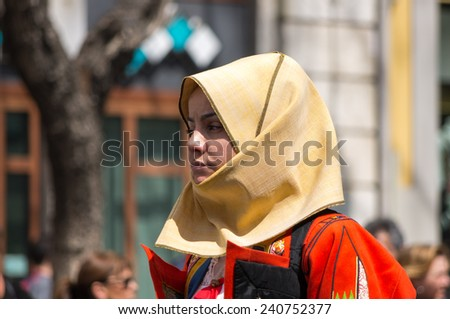 Cagliari, Sardinia, Italy - May 1, 2014: Girl with the Sardinian typical costumes during the festival of Saint Efisio. Cagliari, Sardinia, Italy.