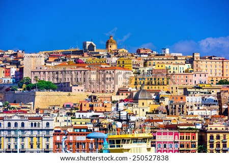 Cagliari, Sardinia, Italy old town skyline. - stock photo