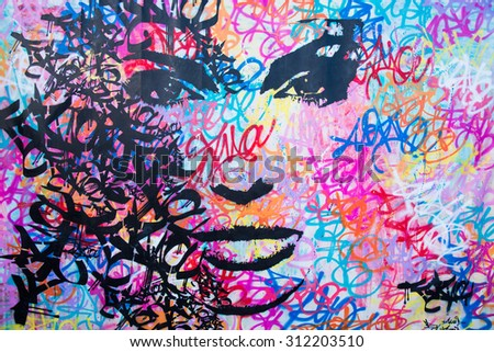 CAGNES SUR MER,FRANCE-JULY 30,2015:Impressive graffiti made by unknown artist seen on Street public gallery - stock photo