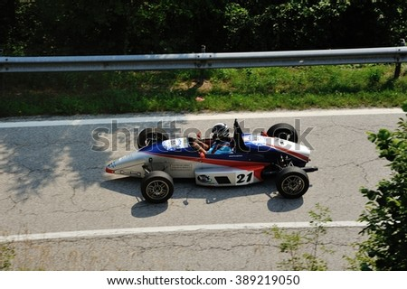CAINO (BS), ITALY - JUNE 27: A Formula junior Monza takes part to the Nave Caino Sant'Eusebio race on June 27, 2015 in Caino (BS). The car was built in 1990. - stock photo