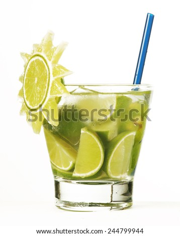 Caipirinha - National Cocktail of Brazil Made with Cachaca, Sugar and Lime - stock photo