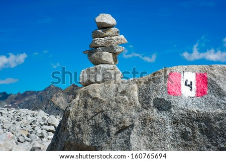 Cairn close to Vedrette di Ries, Valle Aurina, South Tirol, Italy - stock photo