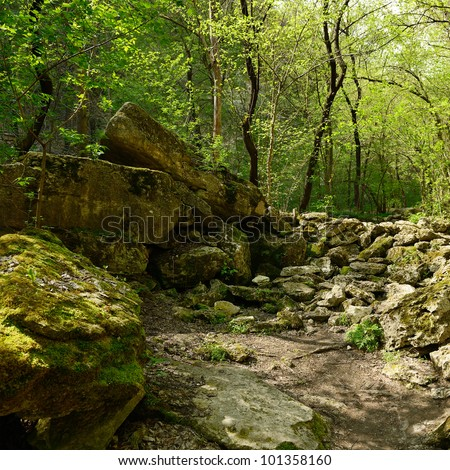 cairn in forest - stock photo