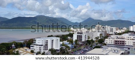 CAIRNS, AUS - APR 14 2016:Aerial view of Cairns, 5th most populous city in Queensland Australia and a popular tourists travel destination for its tropical climate and access to the Great Barrier Reef.