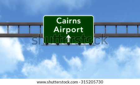 Cairns Australia Airport Highway Road Sign 3D Illustration