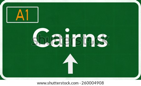 Cairns Australia Highway Road Sign  - stock photo