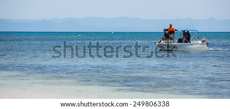 Cairns, Australia - September 18: View of a recreational boat at the Great Barrier Reef near Cairns, Australia on September 18, 2014. - stock photo