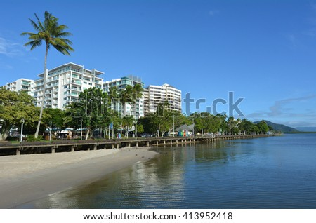Cairns waterfront skyline in Queensland Australia at high tide. - stock photo