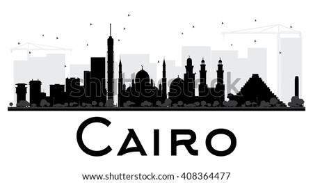 Cairo City skyline black and white silhouette. Simple flat concept for tourism presentation, banner, placard or web site. Business travel concept. Cityscape with landmarks