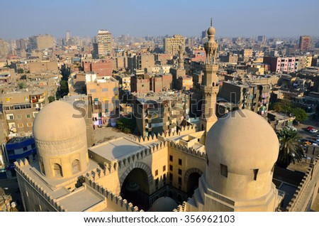 CAIRO - DECEMBER 10 2015: Ibn Tulun Mosque was completed in 879  by the founder of Egypt's Tulunid Dynasty, Ahmad ibn Tulun.