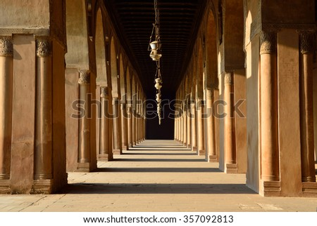 CAIRO - DECEMBER 10 2015: Ibn Tulun Mosque was completed in 879  by the founder of Egypt's Tulunid Dynasty, Ahmad ibn Tulun and there is a open interior with brick pillars in it.