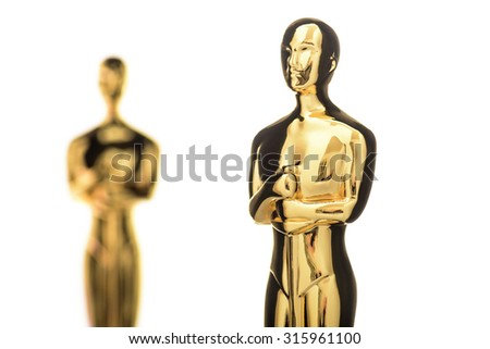 CAIRO, EGYPT - August 17, 2015: A Replica of the Academy Award Trophy photographed in front of cinema screen, DOWN TOWN - stock photo
