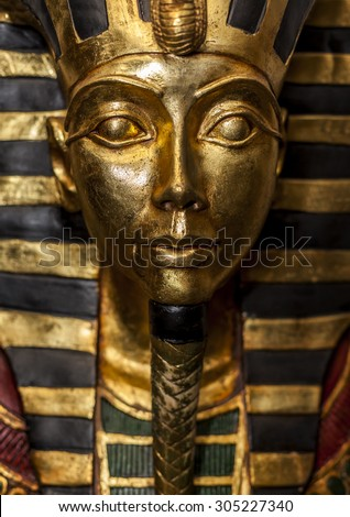 CAIRO, EGYPT - JANUARY 10: Replica of the Pharaoh Tutankhamen's Death Mask sold as souvenir in Cairo, Egypt, Africa photographed on January 10, 2015 in Cairo.