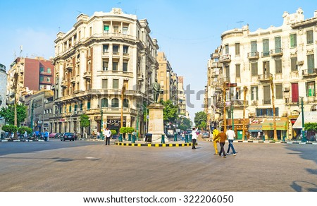 CAIRO, EGYPT - OCTOBER 9, 2014: The Talaat Harb Square is the centre of the city business life, built in Parisian style, on October 9 in Cairo.