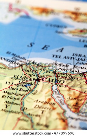 Cairo Egypt, on atlas world map