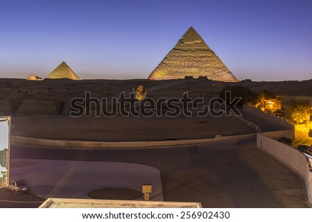 CAIRO - JAN 30: Giza Pyramids Sound and Light Show on January 30, 2015 in Cairo, Egypt.