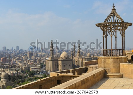 Cairo skyline as seen from the Citadel - stock photo