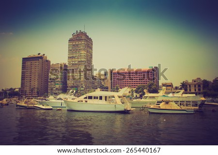 Cairo view from Nile river, Egypt. Filtered image:cross processed lomo effect.