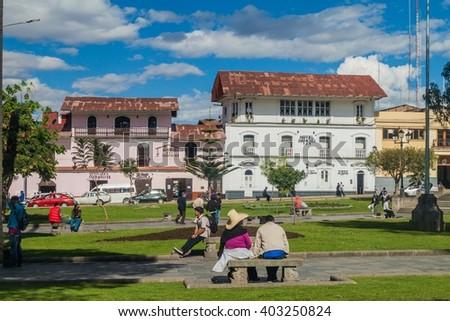 CAJAMARCA, PERU - JUNE 8, 2015: Plaza de Armas square in Cajamarca, Peru. - stock photo