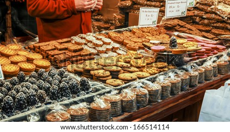 Cake and Biscuit stall at a German Christmas market. - stock photo