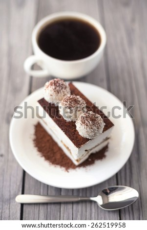 Cake and coffee as a morning meal. Tasty food background - stock photo