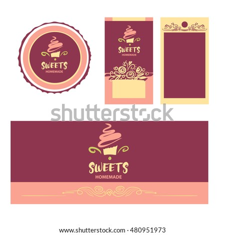 Cake and sweet shop logo. Homemade dessert. Element of design for corporate identity, banner, business card, poster with freehand drawn sweet logo.