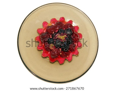 Cake basket with berries and cream pink - stock photo