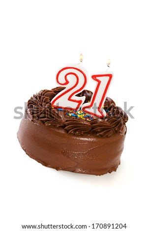 Cake: Birthday Cake Celebrating 21st Birthday - stock photo