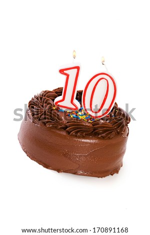 Cake: Birthday Cake Celebrating 10th Birthday - stock photo