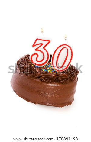 Cake: Birthday Cake Celebrating 30th Birthday - stock photo