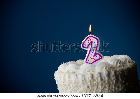 Cake: Birthday Cake With Candles For 2nd Birthday - stock photo