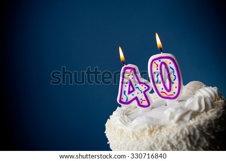 Cake: Birthday Cake With Candles For 40th Birthday - stock photo