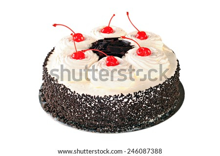 Cake Black Forest with whipped cream, candied cherry and chocolate, isolated on white background - stock photo