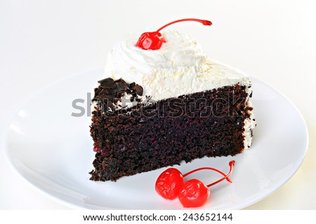 Cake Black Forest with whipped cream, candied cherry and chocolate, on plate, white background - stock photo