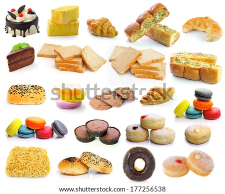 Cake, bread, garlic bread, croissants, donuts, noodles, macarons, sweets made from sugar, cookies isolated on white background