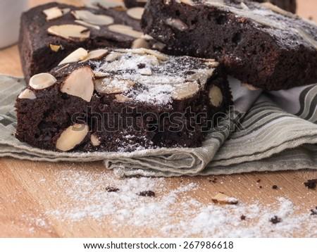 cake chocolate brownies - stock photo