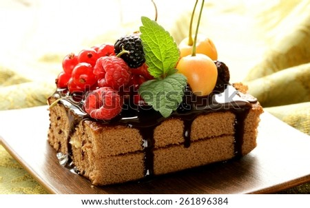 Cake, Chocolate, Frosting. - stock photo