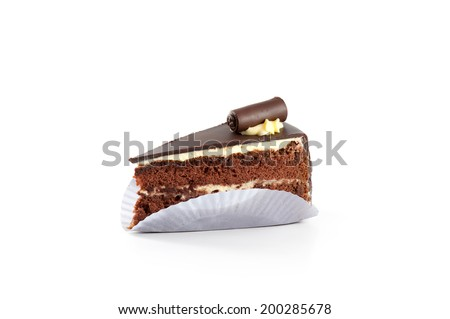 Cake chocolate with paper plate isolated on white background