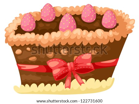 cake chocolate with strawberry.JPG (EPS vector version id 121524580,format also available in my portfolio) - stock photo