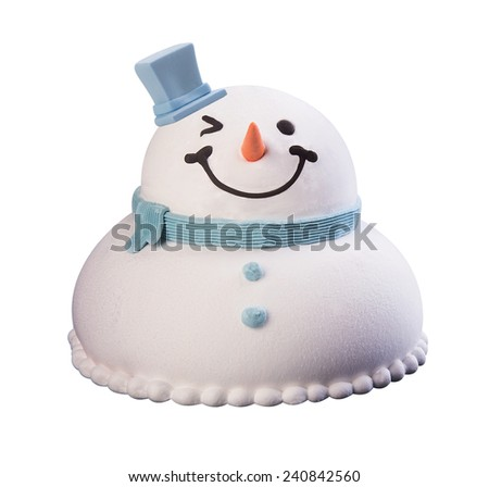 cake. christmas snowman cakes on a background. christmas cakes on a background. - stock photo