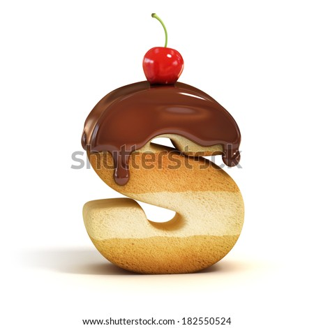 cake 3d font letter S - stock photo