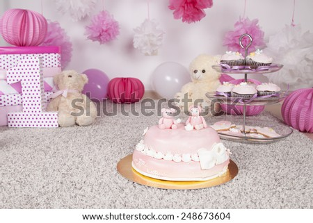 Cake decorated with fondant - stock photo